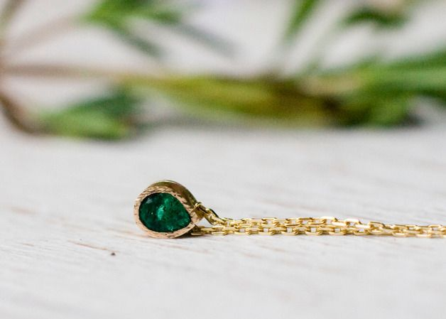 Gold Pendants – Colombian emerald 14k gold chain necklace,pear – a unique…