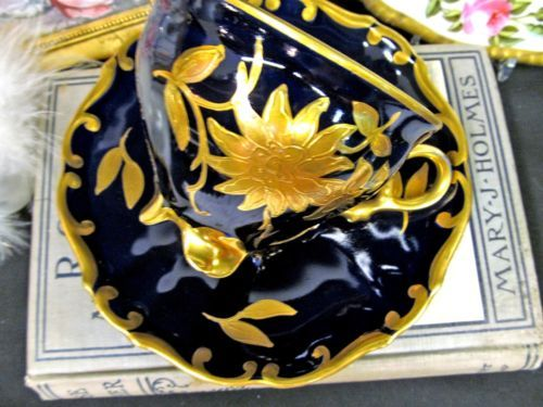 GERMANY TEA CUP AND SAUCER COBALT BLUE & ETCHED RAISED GOLD GILT TEACUP FOOTED