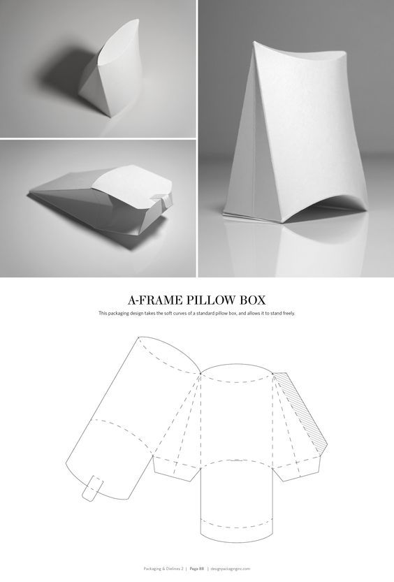 A-Frame Pillow Box – structural packaging design dielines: