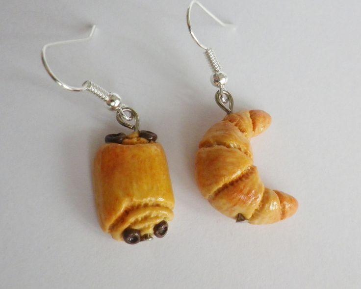 boucles d oreilles croissant et pain au chocolat viennoiserie 2 fimo bijou gourmand rigolo original : Boucles d'oreille par fimo-relie