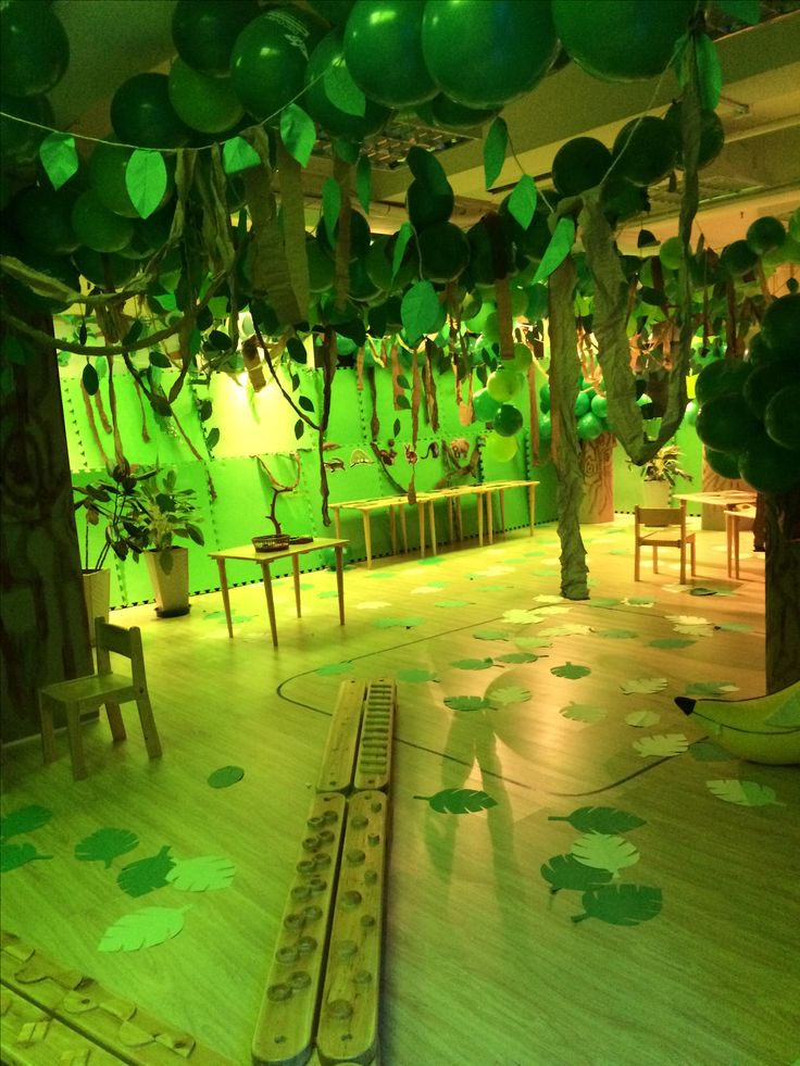 jungle classroom, I love the leaves on the floor.