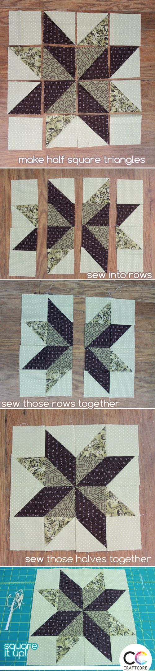 How to Assemble the 8 Point Diamond Quilt Block, made out of HST units! http://craftcore.ca/2015-08-11-how-to-make-a-quilt-label-tag/?utm_content=bufferf026f&utm_medium=social&utm_source=pinterest.com&utm_campaign=buffer #quilting