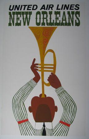 Vintage Travel Destination Art Poster Print Postcard ☮~ღ~*~*✿⊱  レ o √ 乇 !! ~ New Orleans - United Air Lines