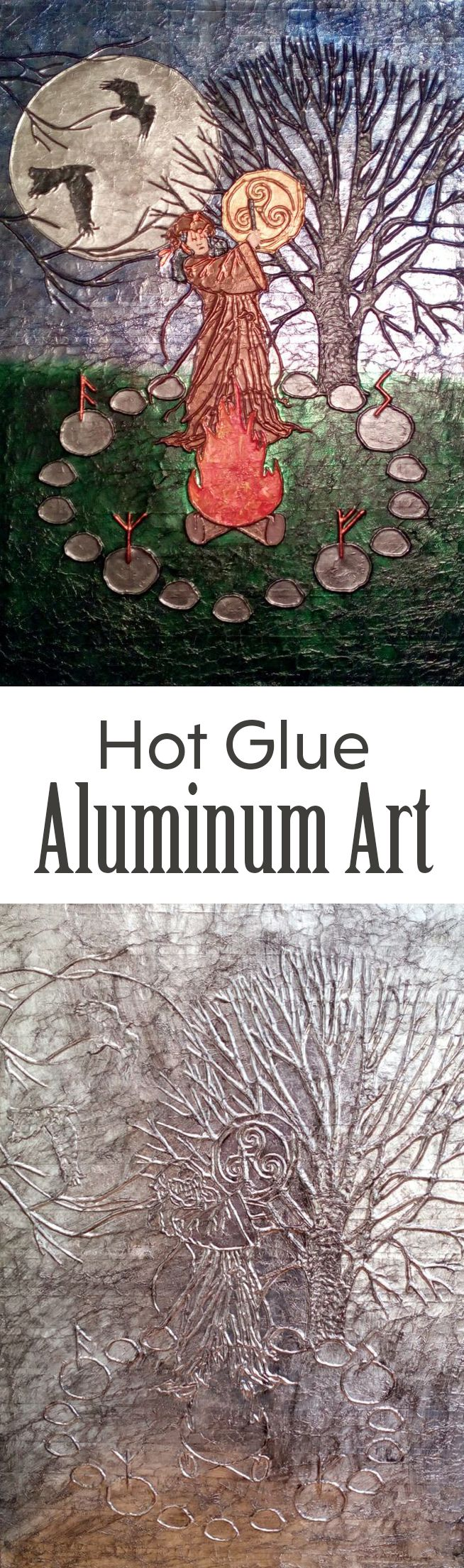 Make beautiful artwork with hot glue and aluminum foil!