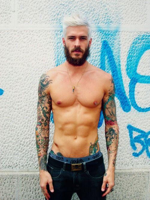 beard + platinum blonde hair + tattoos + denim
