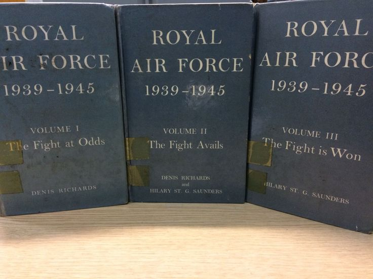 Royal Air Force 1939–1945 in three volumes by  Hilary St. George Saunders and Denis Richards. Volume I, The Fight at Odds, Volume II, The Fight Avails. Volume III, The Fight is Won. Published by H.M. Stationery Office, London in 1953-54