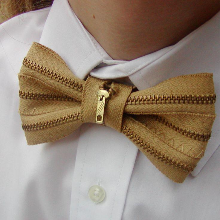 Upcycled Tan Metal Zipper Mens Bow Tie. $32.00, via Etsy.