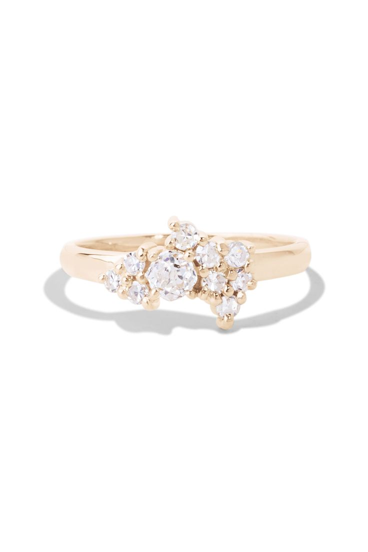 This Cluster Diamond Ring Features 10 2mm Rounds Diamonds Center Around A  33ct Heirloom Round