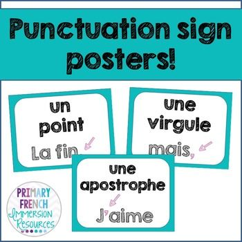 French punctuation signs - Les signes de ponctuation #frenchtpt #frenchimmersion #teacherspayteachers