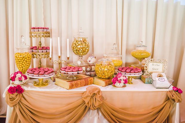 beauty and the beast candy table gold candy candelabra mini rose