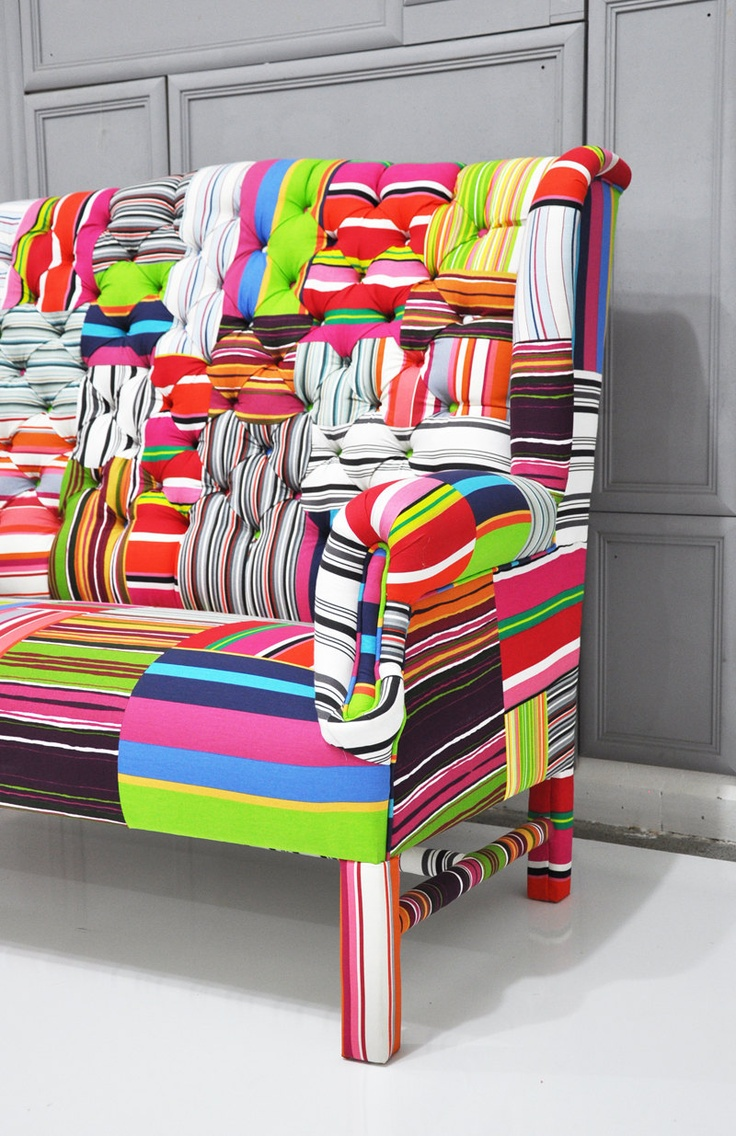 Colorful chairs for living room - Patchwork Wing Back Sofa I Would Have Loved To Have This In My Room As A Teenager Although I D Love To Have It In My Living Room Now But It D Be