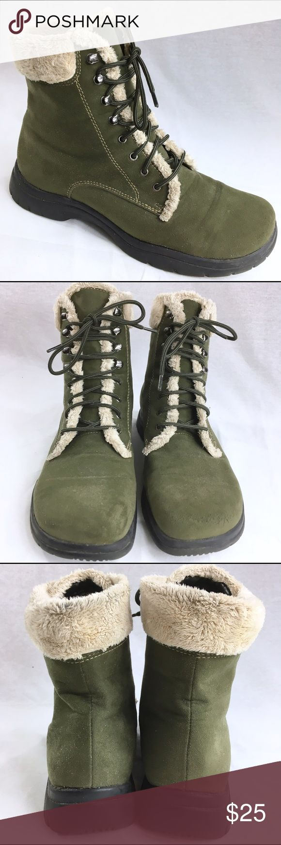 me too LINK-Q Olive Army Green Hiking Boots Sz. 9M These are lightweight hiking boots. They are in fairly good condition. They have been gently pre-loved.  They are not insulated. They are actually better for a fashionable look rather than keeping warm. me too Shoes