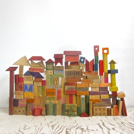 140 vintage children's wood blocks.