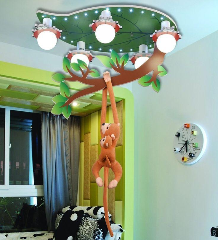 Witzige Kinderzimmerlampe Mit Kleinem Affen Perfekt Fur Ein Dschungel Kinderzimmer Die Lustige Deckenlampe Ist Kinderzimmer Dekor Kinder Lampen Kinder Zimmer