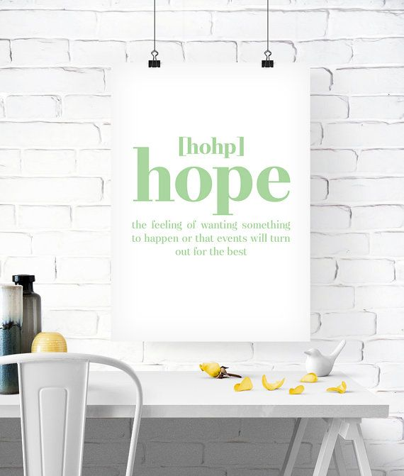 Hope definition, Printable poster, Printable art, Wall art, Instant download, Mint, green, modern, Home decor, Print set