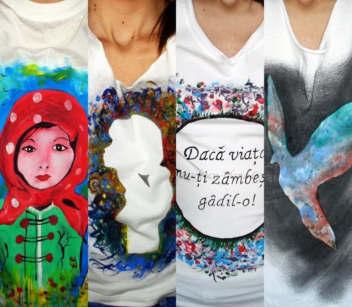 Elena Cosmina Georgescu- Haine De Inimă Tricouri pictate pe bumbac 100%, rezistente la spălare 40 grade sau manual. Pentru detalii răspund în privat, mulţumesc! Gând bun!