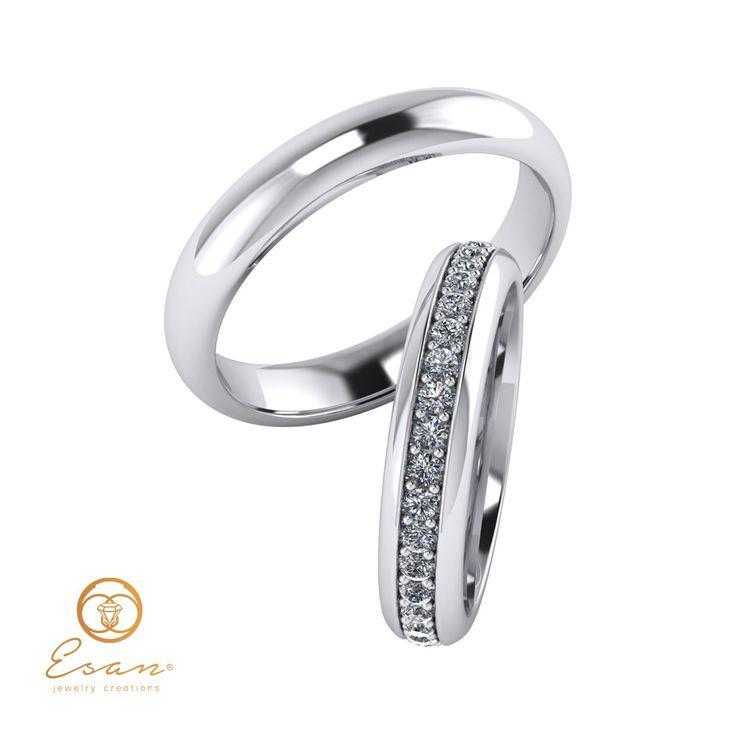 Verighete din aur alb cu diamante ESV9