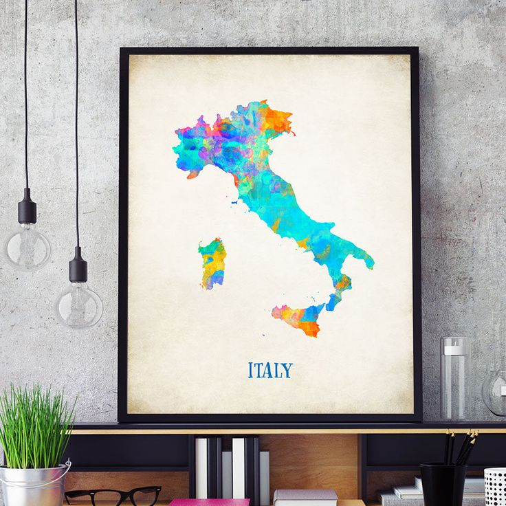 Italy Map Wall Art, Italy Map Print, Map Of Italy Poster, Watercolour Italian Map Print, Kids Room Decor, Italian Theme Decorations (714) by PointDot on Etsy