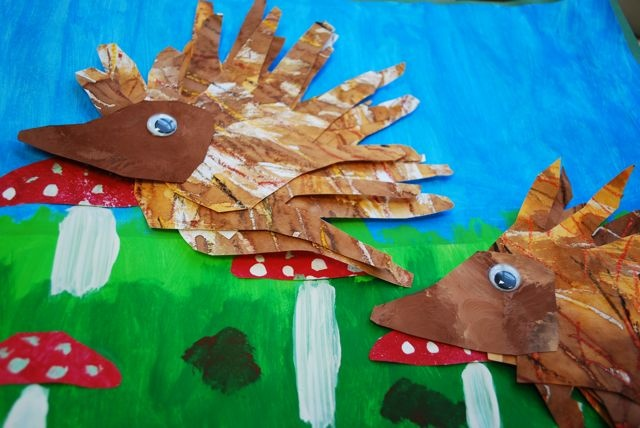 PAINTED PAPER: Hedgehogs and Hands A great project using oil pastel/water color resist, tracing and cutting. Plus Laura  (Painted Paper) often times uses literature to inspire her projects.