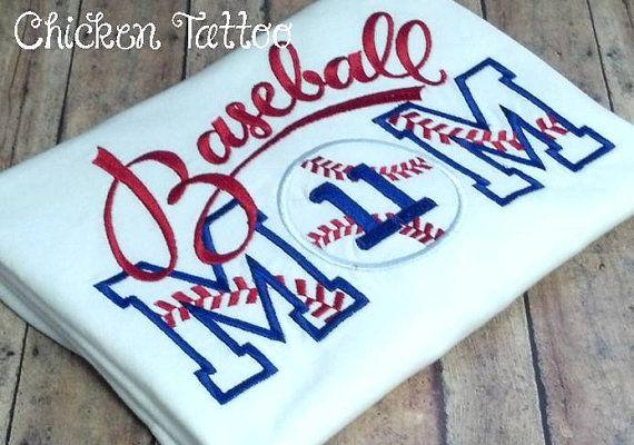 Baseball Mom Applique Shirt on Etsy, $24.00