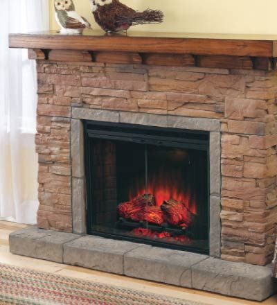 stacked stone electric fireplace i like the clean yet rustic look of this one decorating. Black Bedroom Furniture Sets. Home Design Ideas