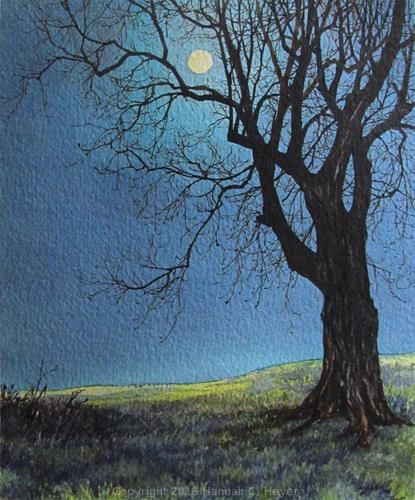 """Daily Paintworks - """"The Moon and the Maple Tree"""" - Original Fine Art for Sale - © Hannah C. Heyer"""
