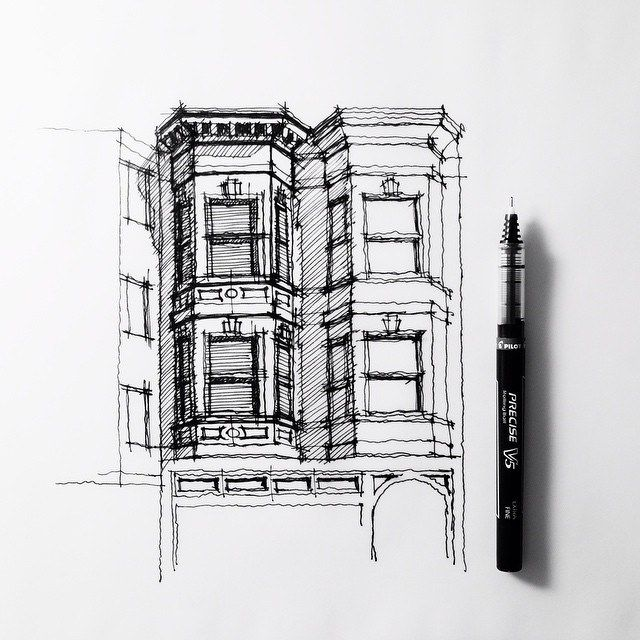 Detail and depth seen through the use of hatching. Comparison to different stages of sketch with connecting windows.