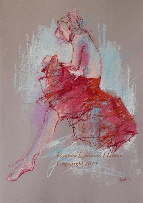 Original Pastel Drawing of Female Model wearing a Red Skirt on Light Rose