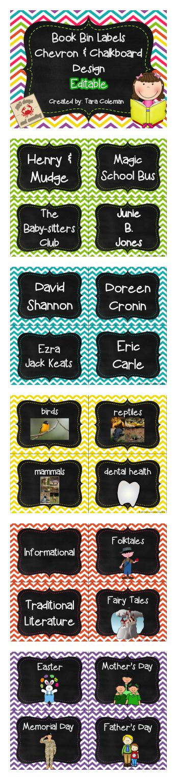 142 book bin labels...WOWZA!!!  20 editable book bin labels...DOUBLE WOWZA!!  Includes book series, authors, genres, themes, and months/holidays.  Chevron/chalkboard design. $