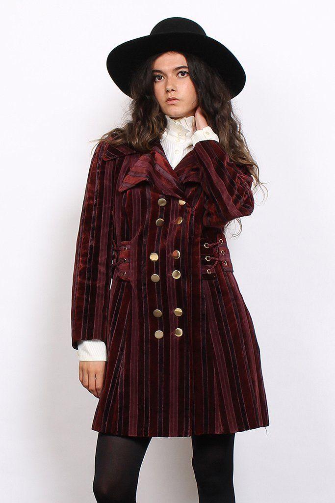 Vintage 60s Burgundy Velvet Cord Double Breasted Pea Coat