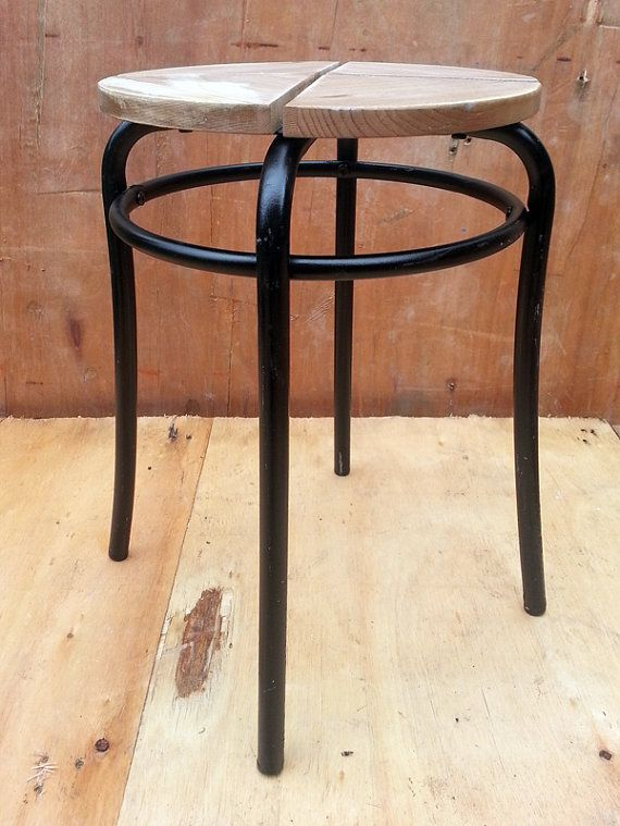 Stool Bedside Table: Upcycled Metal Black & Rustic Wood Stool, Bedside Table