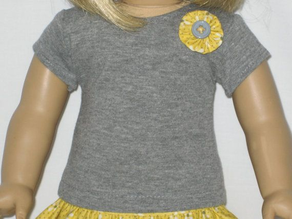 American Girl Doll Clothes - Gray and Yellow Skirt Outfit