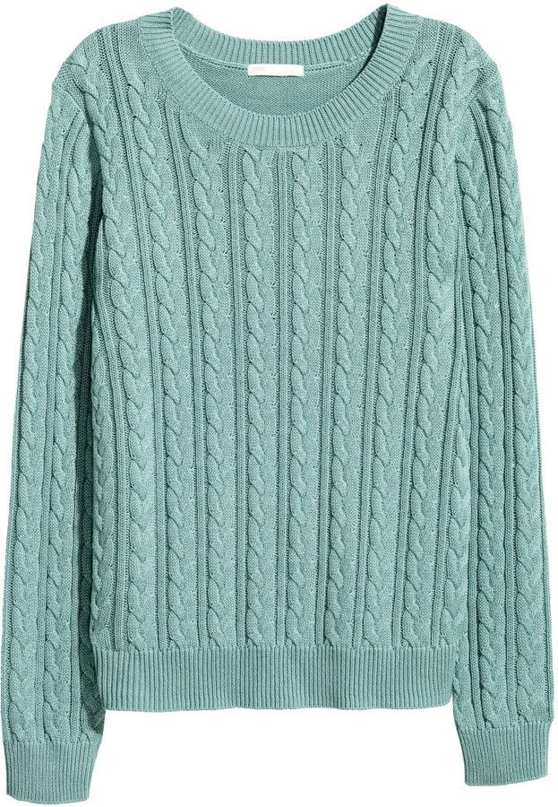ddb7287de9f34b H M - Cable-knit Sweater - Turquoise - Ladies