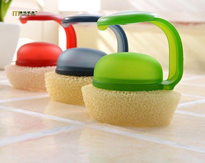 1PC Longming Home Plastic Handheld Sponge Kitchen Cleaning Bathtub Ceramic Tile Glass WC Brush Sponge Durable Wall Cleaner KP009 #Affiliate