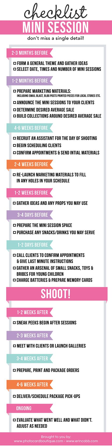 Free - Photographers Mini Session Checklist