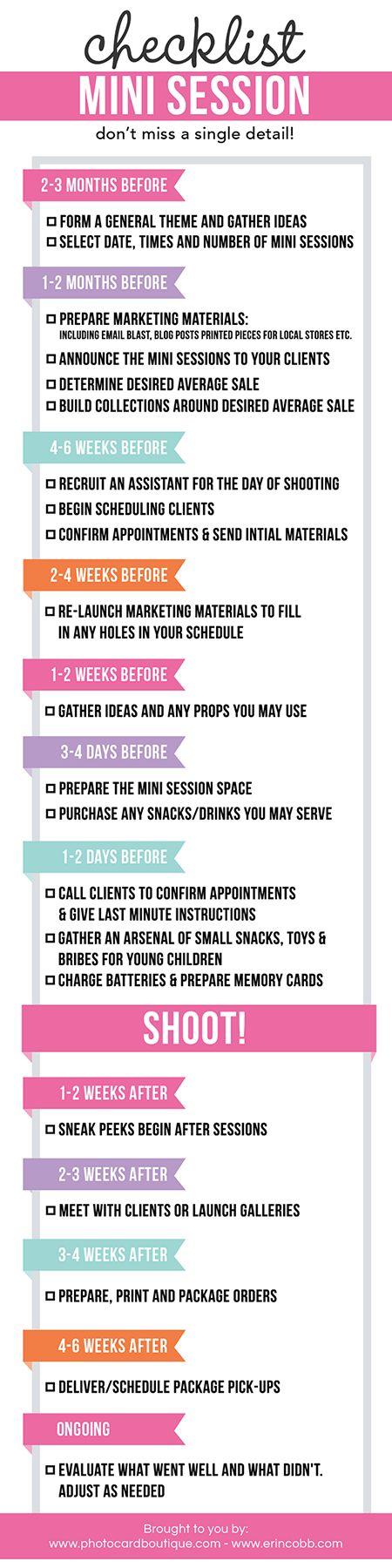Free - Photographers Mini Session Checklist