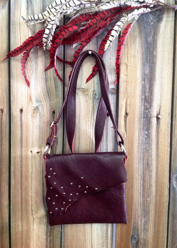 Grapeseed Genuine Leather Side Bag with Silver Studs Pattern by HeartnSoulHandbags, $140.00