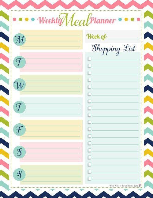 free printable weekly meal planner organization ideas pinterest