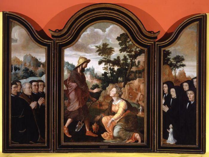 Ян ван Скорел (Jan van Scorel) (1495 - 1562) — Triptych - Noli Me Tangere, Donors in the Wings (1548 - 1554 Birmingham Museums & Art Gallery,)