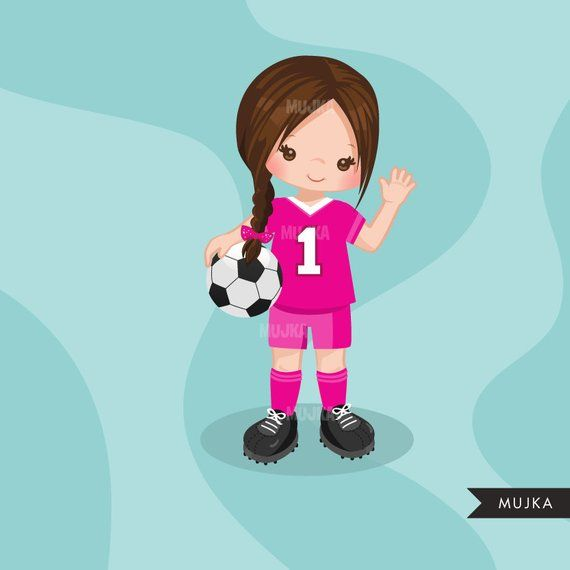 Soccer Clipart Sport Graphics Girls Soccer Player Etsy Ninos