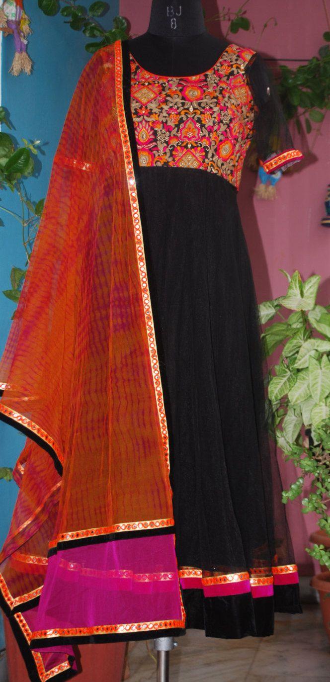 Black Anarkali with kutch work yoke and designer dupatta. by Zingchic on Etsy