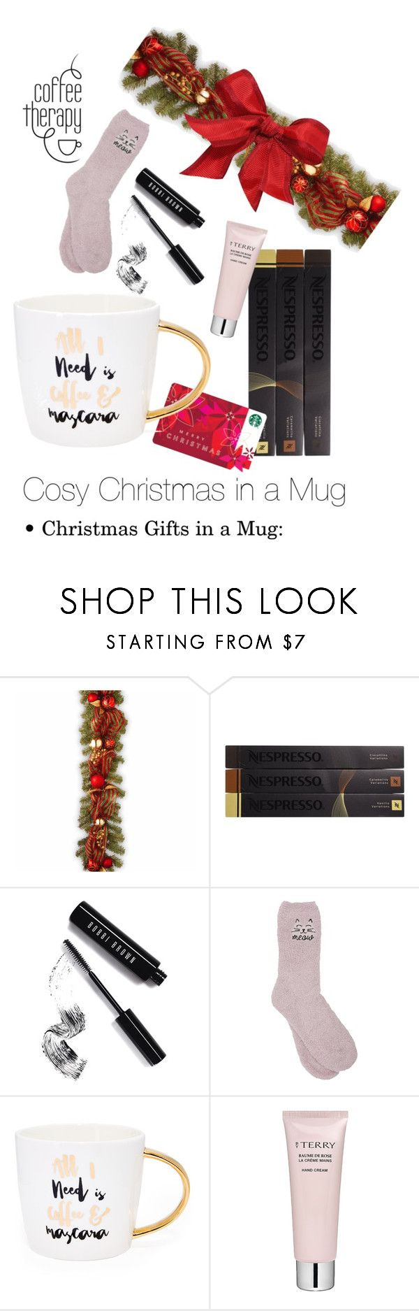 """""""Cosy Christmas in a Mug - Christmas Gift Ideas #1"""" by enk98 on Polyvore featuring interior, interiors, interior design, home, home decor, interior decorating, National Tree Company, Nespresso, Bobbi Brown Cosmetics and M&Co"""