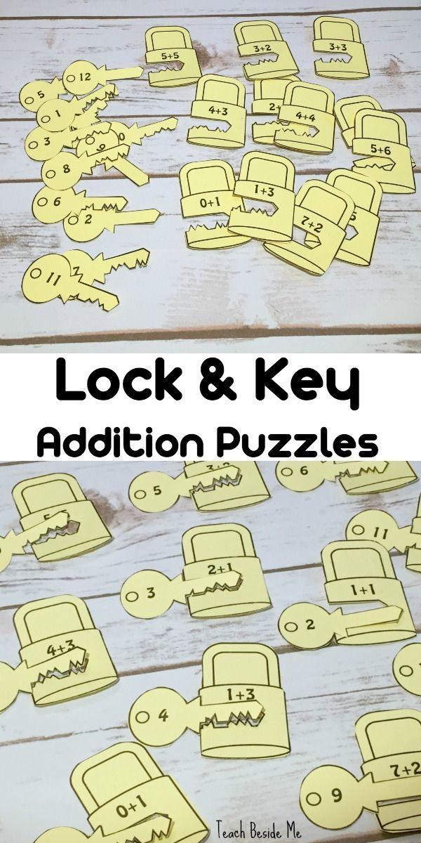 Lock & Key Addition Puzzles for Kids - fun hands-on STEM math idea!  via @karyntripp