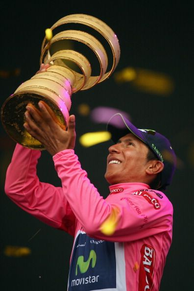 Nairo Quintana of Colombia and the Movistar Team celebrates winning the 2014…