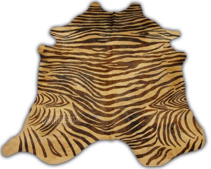 zebra cowhide rug brown printed cow hide d123 8u0027 x 7u0027 xxl