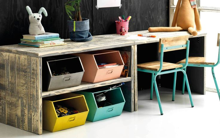 Love the look of this desk and storage boxes.