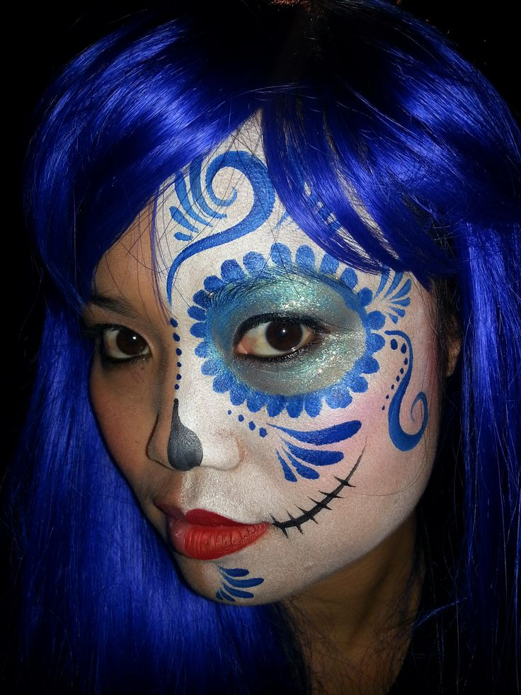 Day of the Dead sugar skull mask face painted by Bay Area Party Entertainment 415-548-1178