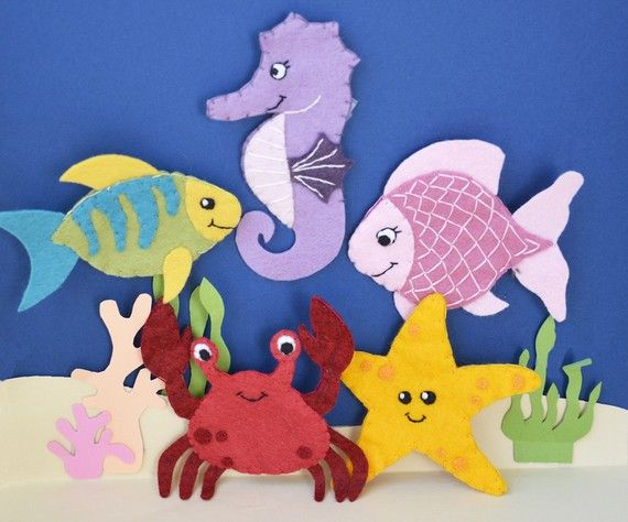 Five Friendly Sea Creatures - Wool Blend Felt Finger Puppets - READY TO SHIP. $38.00, via Etsy.
