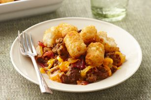 Easy cheeseburger casserole! Great to bring to a potluck