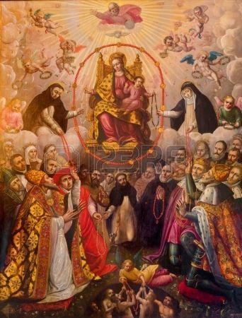 Anversa, Belgio - 5 settembre: Madonna del rosario. Vernice da 19. cent. in…